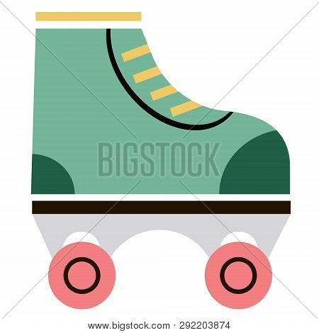 Rollerskate Flat Illustration On White. Lifestyle And Everyday Objects Series.