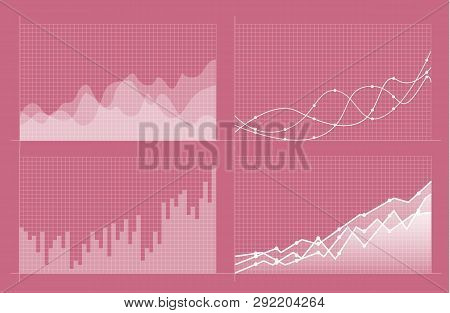 Set Of Different Graphs And Charts. Infographics And Diagnostics, Charts And Schemes Vector. Busines