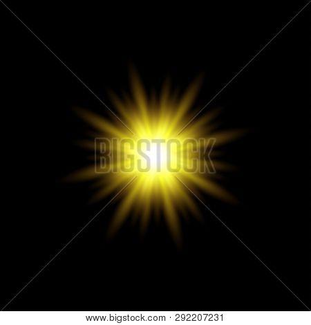 Sun Rays Vector. Yellow Sun Ray Glow Abstract Shine Light Effect Starburst. Sunshine Glowing