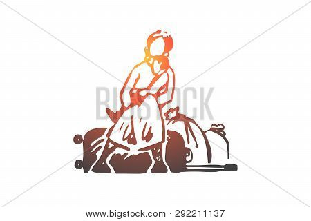 Migrant, Woman, Illegal, Bags, Refugee Concept. Hand Drawn Depressed Woman Migrant With Bags Concept