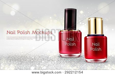 Red Or Scarlet Nail Polish 3d Realistic Vector Cosmetic Ads Banner With Glass Bottle On White Shiny