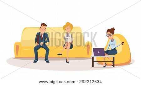 Woman On Bean Bag Chair, Employee Sit On Couch. Business People Wait For Job Interview On Sofa. Fema