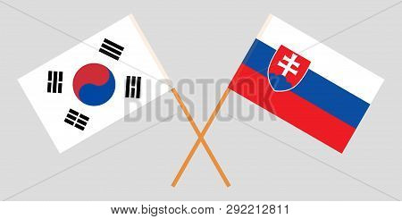 Slovakia And South Korea. The Slovakian And Korean Flags. Official Colors. Correct Proportion. Vecto
