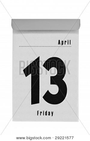 Tear-off calendar shows friday the thirteenth in april