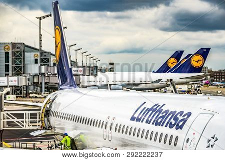 Frankfurt Germany 23.02.19 Lufthansa Airbus Twin-engine Jet Airliner Standing At The Fraport Airport