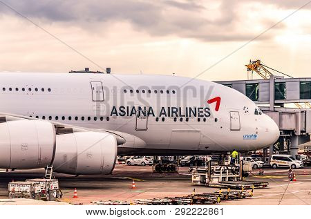 Frankfurt Germany 23.02.19 Asiana Airlines Airbus Jet Airliner Standing At The Fraport Airport Waiti