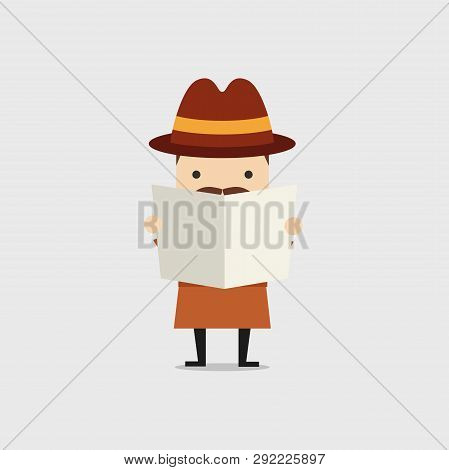 Detective Spying Through Newspaper. Police Detective And Inspector Cartoon.
