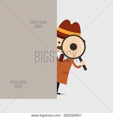 Detective Holding A Magnifying Glass Behind The Wall. Police Detective And Inspector Cartoon.