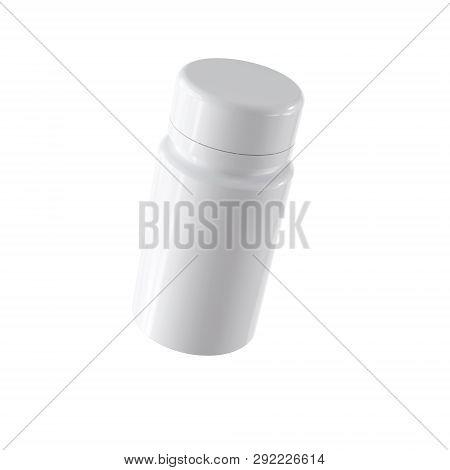3d White Plustic Bottle Mockup Rendering Isolated