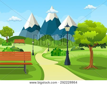 Summer, Spring Day Park. Wooden Bench, Street Lamp In Park Trail With Lush Green Trees, Bushes And M