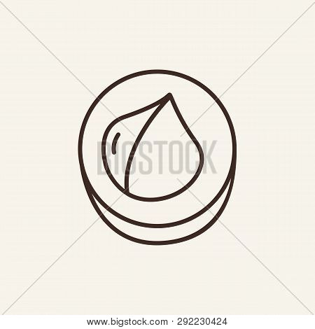 Macadamia Line Icon. Cracked, Nutshell, Kernel. Vegetarian Food Concept. Can Be Used For Topics Like
