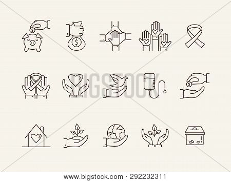 Altruism Icons. Line Icons Collection On White Background. Charity, Blood Donation, Charity Box. Don