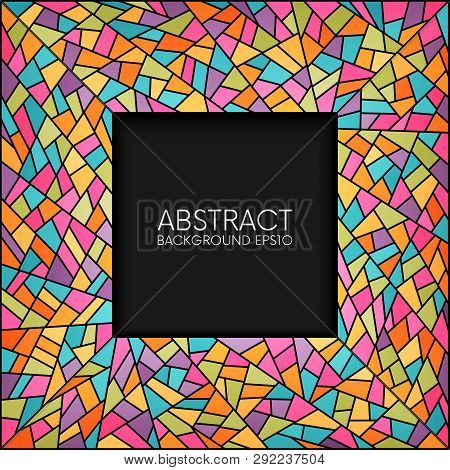 Abstract Stained Glass Square Frame Vector Background