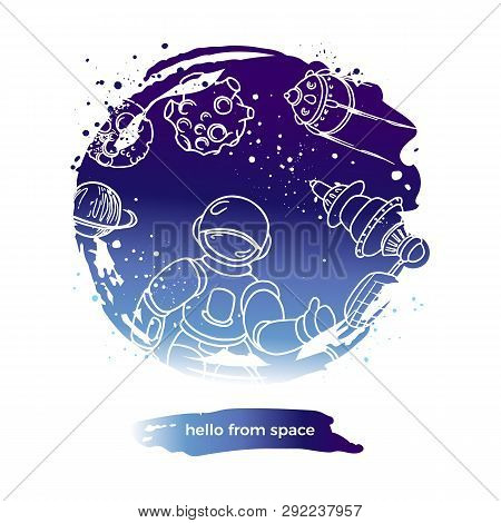 Vector Abstract Design. Hello From Space. Futuristic Art Line Doodle Symbol In Circle. Graphic Set O