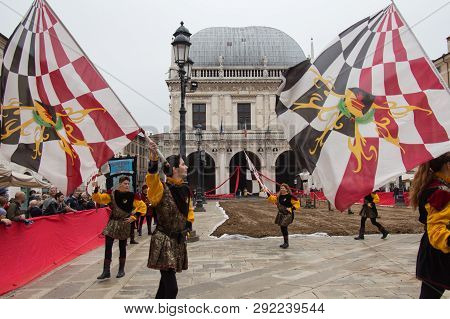 Italy, Brescia - October 01 2017: The View Of The Flag-bearers Performance At Traditional Festivitie