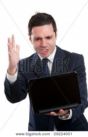 Angry Business Man With Laptop