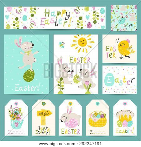 Set Of Easter Gift Labels, Cards With Cartoon Easter Bunnies, Eggs, Flowers