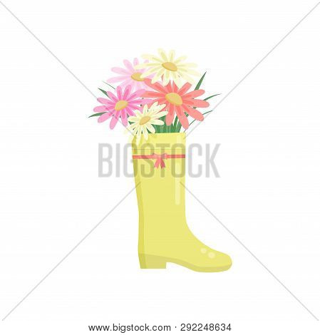 Beautiful Colorful Flowers Composition Bouquet In Yellow Rainboot Over White