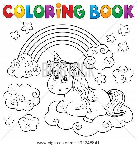 Coloring Book Cute Unicorn Topic 1 - Eps10 Vector Picture Illustration.