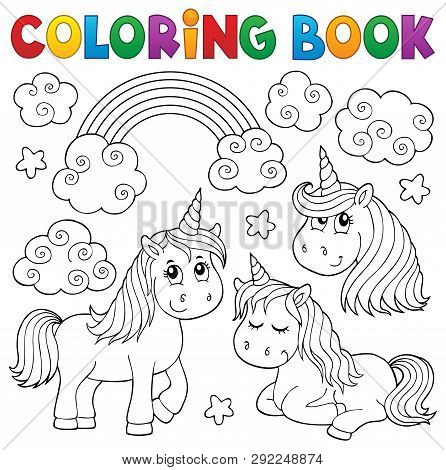 Coloring Book Cute Unicorns 1 - Eps10 Vector Picture Illustration.