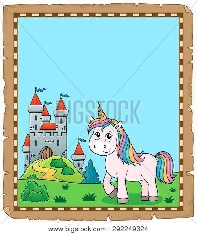 Cute Unicorn Topic Parchment 2 - Eps10 Vector Picture Illustration.