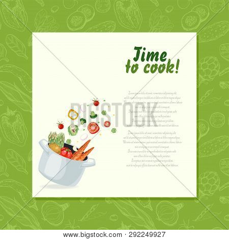 Background With Vegetables Flying Into The Pot. Vector Illustration For Your Design