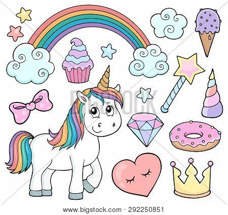 Unicorn And Objects Theme Image 1 - Eps10 Vector Picture Illustration.