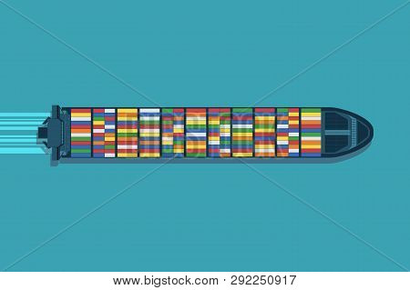 Large Container Ship At Sea. Aerial Top View. Cargo To Harbor.