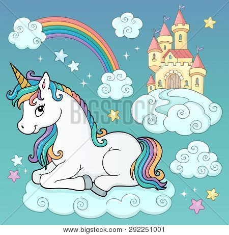 Unicorn And Objects Theme Image 3 - Eps10 Vector Picture Illustration.