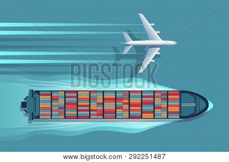 Transportation Logistics Container Ship And Plane. Vector