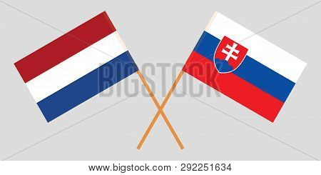 Slovakia And Netherlands. The Slovakian And Netherlandish Flags. Official Colors. Correct Proportion