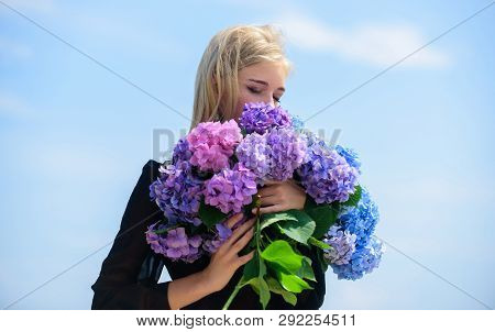 Enjoy Spring Without Allergy. Gentle Flower For Delicate Woman. Girl Tender Blonde Hold Hydrangea Fl