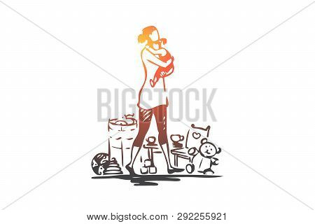 Mother, Child, Holding, Toy, Home Concept. Hand Drawn Mom With Child At Home Concept Sketch. Isolate
