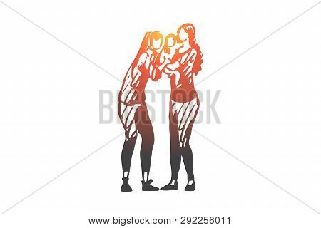 Lgbt, Female, Lesbian, Couple, Child Concept. Hand Drawn Family Couple Of Two Women With Child Conce