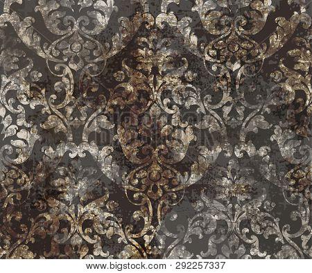 Rococo Texture Pattern Vector. Floral Ornament Decoration. Victorian Engraved Retro Design. Vintage