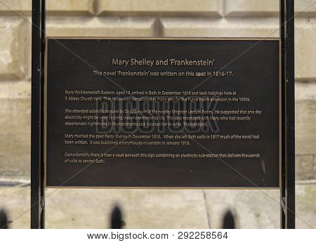 Bath, Somerset, Uk, 22nd February 2019, Memorial Plaque To Site Of Where Mary Shelley Wrote Frankens