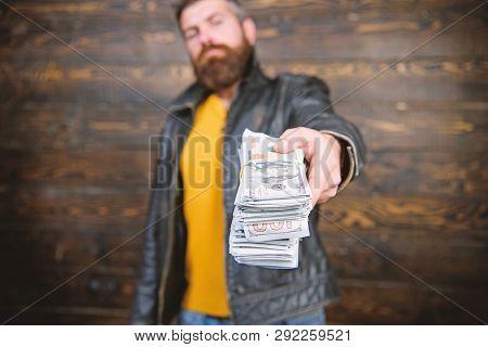 Illegal Profit And Black Cash. Guy Mafia Dealer With Cash Profit. Man Give Cash Money Bribe. Richnes