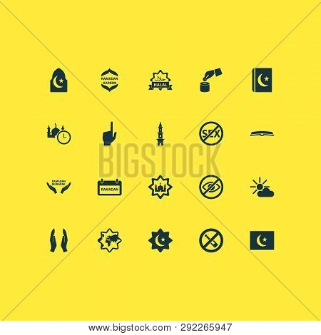 Holiday Icons Set With Sadaqah, Flag, Scripture And Other Masjid Elements. Isolated Vector Illustrat