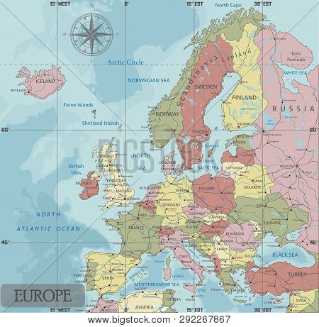 Detailed Europe Political Map In Mercator Projection. Clearly Labeled. Separated Layers.