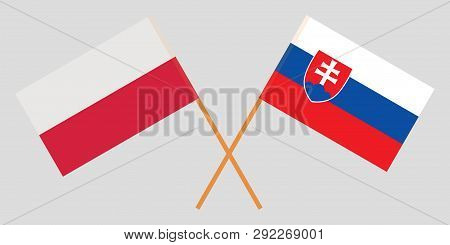 Slovakia And Poland. The Slovakian And Polish Flags. Official Colors. Correct Proportion. Vector Ill