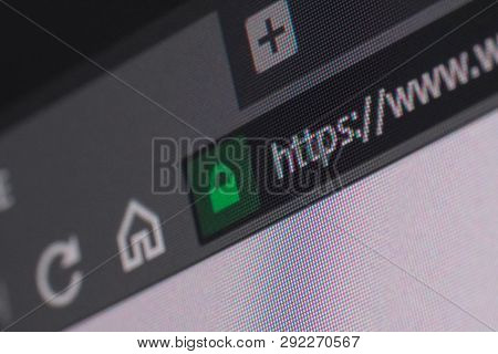Web Browser Closeup On Lcd Screen With Depth Of Field And Focus On Https Word. Internet Security, Ss