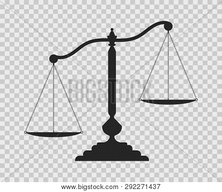 Scales Of Justice. Dark Empty Scale On Transparent Background. Classic Balance Icon. Law Balance Sym