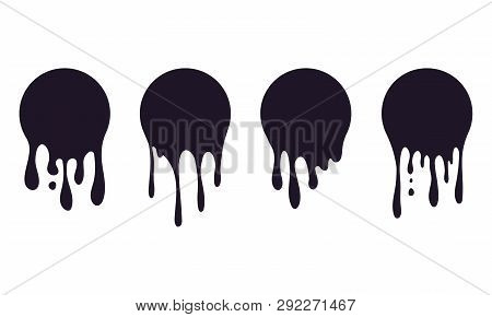 Set Of Dripping Circle Paint. Paint Drip Stickers Or Circle Labels. Ink Drop Splash. Black Drippings
