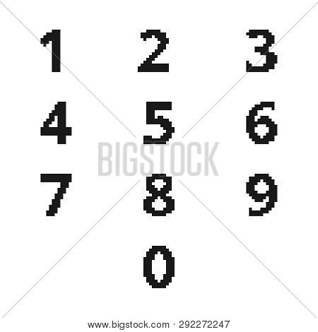 Ten Pixel Ciphers In The Black Color Of Computer Illustration Form