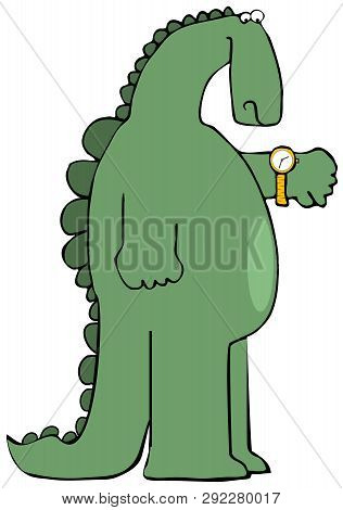 Illustration Of A Chubby Dinosaur Looking At A Watch On His Arm.
