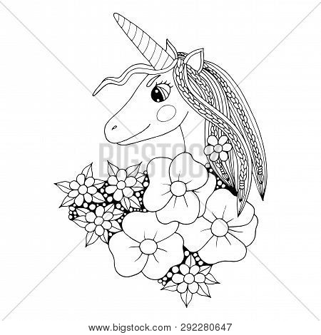 Black Line Unicorn For Coloring Book Or Page