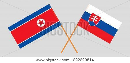 The Slovakian And Korean Flags. Official Colors. Correct Proportion. Vector Illustration