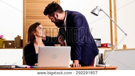 Flirting At Workplace Entirely Unprofessional. Flirting And Seduction. Flirting With Coworker. Woman