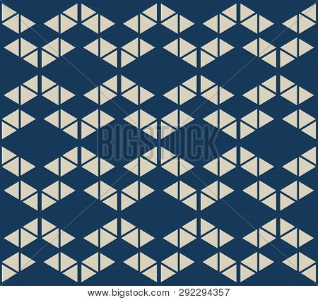 Golden Geometric Triangles Seamless Pattern. Simple Vector Gold And Deep Blue Abstract Texture With
