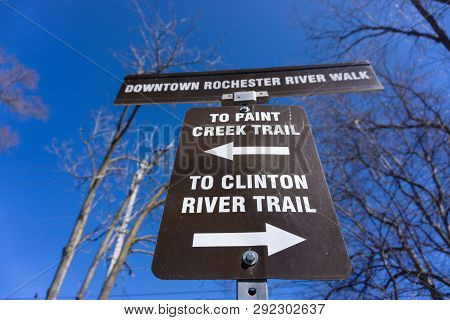 Paint Creek Trail And Clinton River Trail Sign From Rochester Michigan